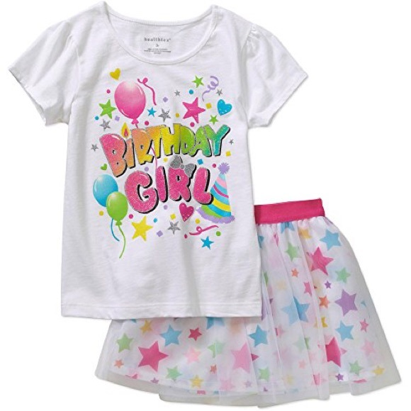HEALTHTEX NWT BIRTHDAY GIRL SKIRT & TEE SET 4T